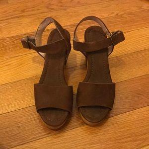 Madewell suede wooden platform sandals